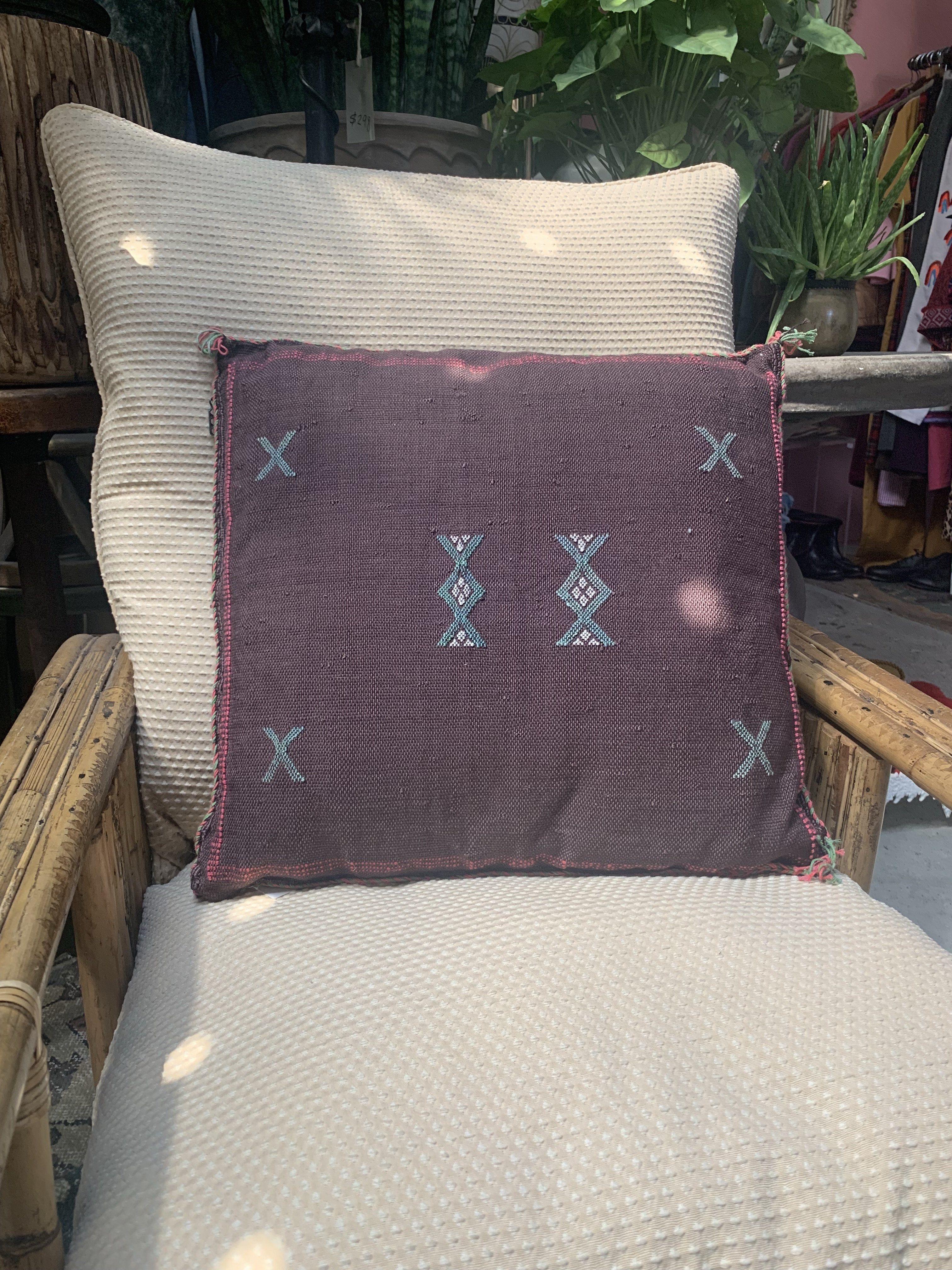 Plum Cactus Silk Embroidery Pillow - Default Title