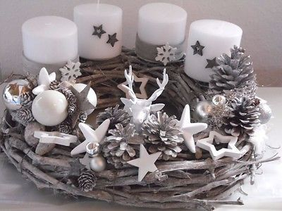 adventkranz weihnachten shabby advent kugeln unikat lichterkette deko pinterest. Black Bedroom Furniture Sets. Home Design Ideas