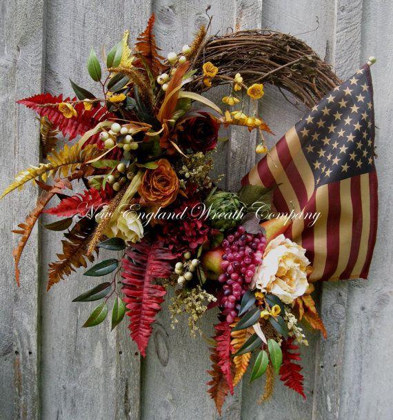 Patriotic Wreath, Americana Wreath, Fourth of July Wreath, Flag Wreath, Williamsburg, Floral Wreath, Designer Wreath,Tea Stained Flag