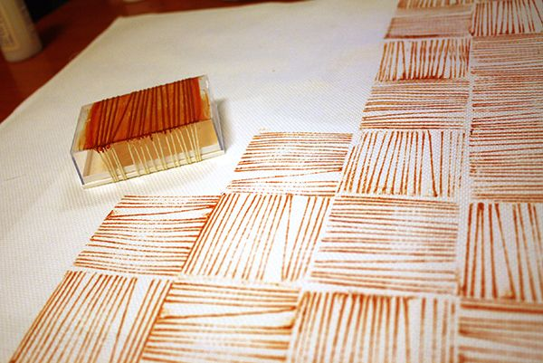 Making Hand-Printed Fabric with Twine and Potato Stamps #fabricstamping