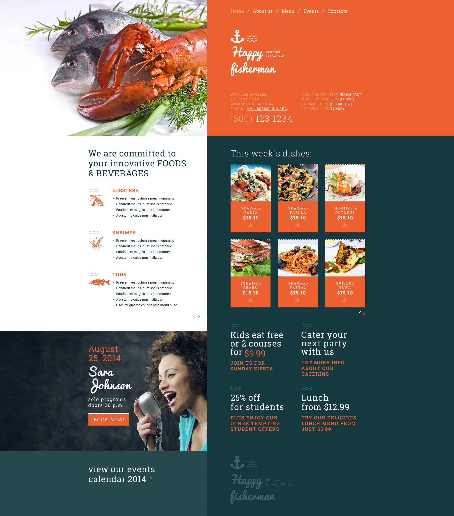 Seafood Restaurant Responsive Website Template | Restaurant website ...