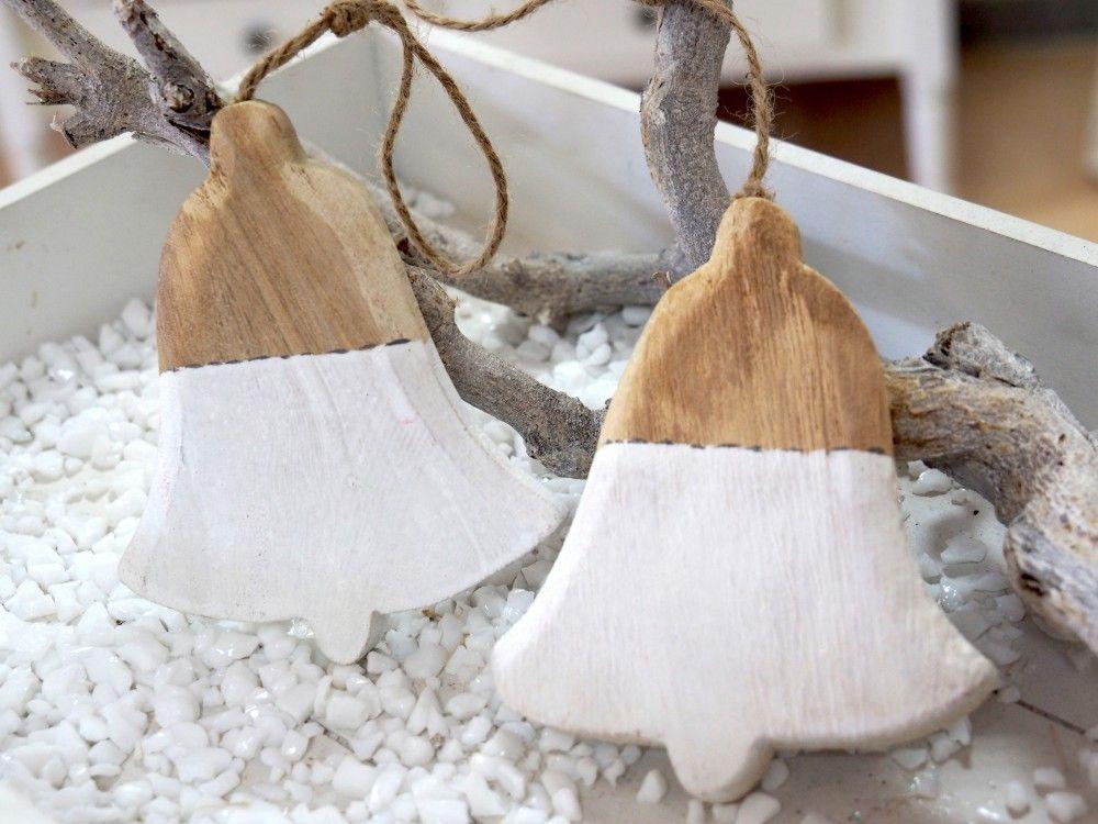 2 Hänger Holz Glocke Weiß #weihnachtenholz