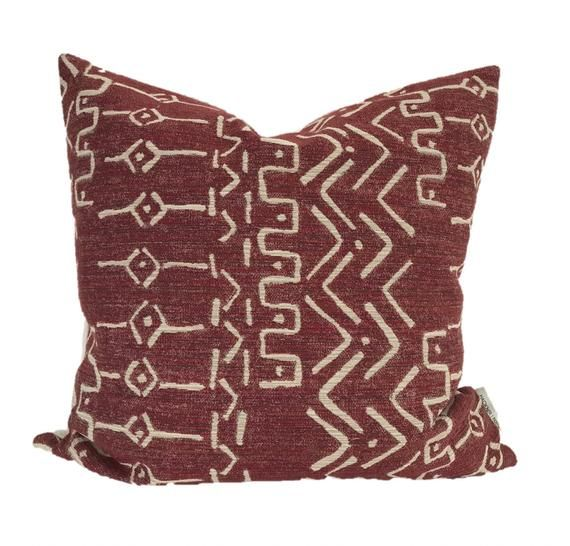 Mud Cloth Pillow Cover, Red Mud Cloth, Boho Pillow Cover, Christmas Pillow Cover, Lumbar Pillow Cover, Decorative Pillow Cover, Hackner Home