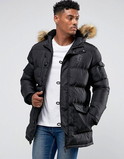 538c3c676fca Gym King Puffer Parka In Black With Faux Fur Hood