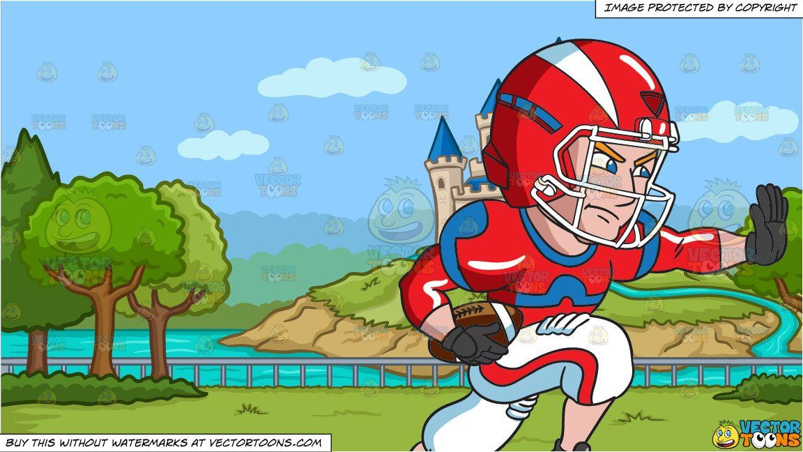 A Football Player Charges Ahead While Blocking An Opponent And A Park With Castle Background Blue Print Football Players