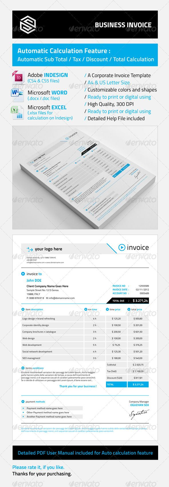 Business Invoice  Adobe Indesign Adobe And Template