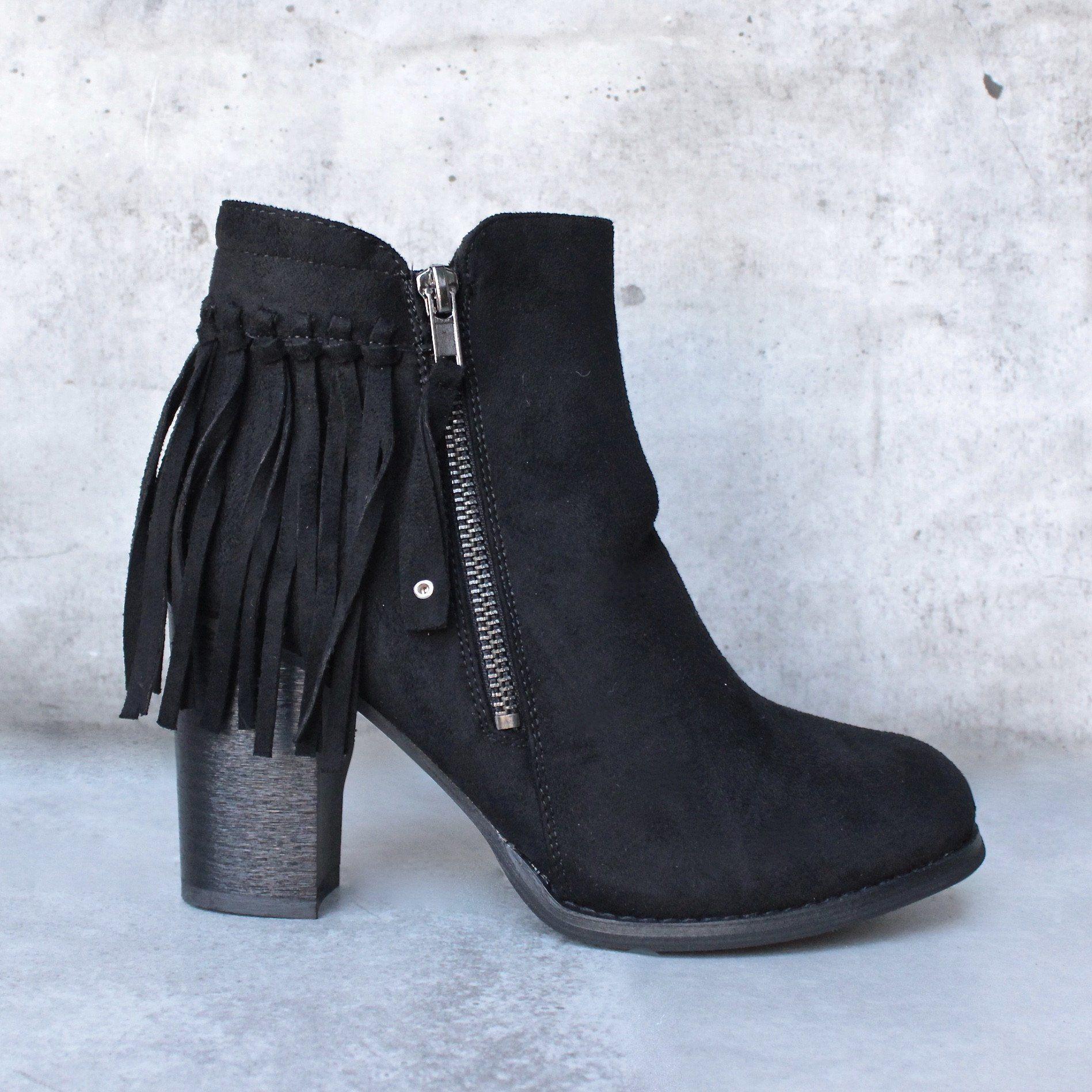 84c22a80048 city chic fringe vegan suede ankle boot - black – shophearts