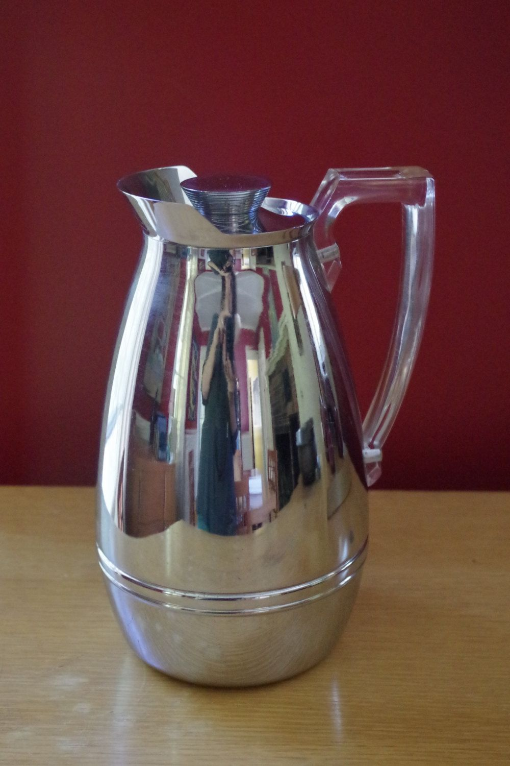 beautiful vintage chrome thermos insulated hot or cold thermal pitcher carafe with lucite handle on kitchen decor pitchers carafes id=49064