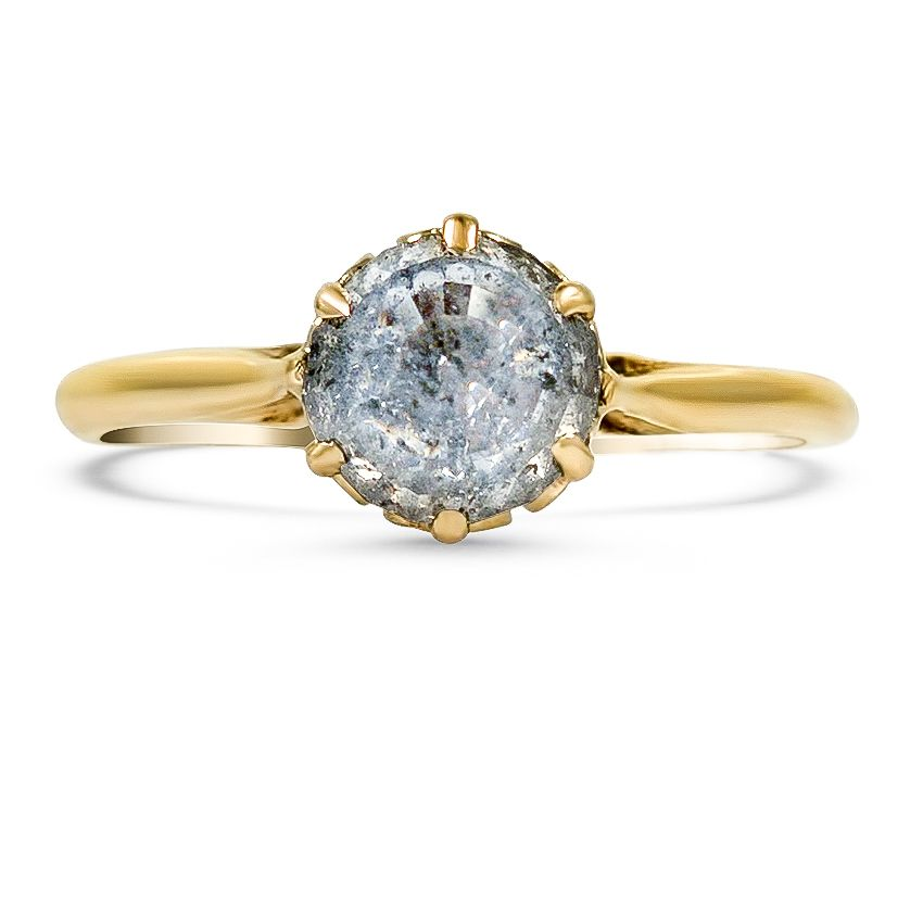 10K YELLOW SOLID GOLD EMERALD CUT RAINBOW MOONSTONE DIAMOND WEDDING DAINTY RING
