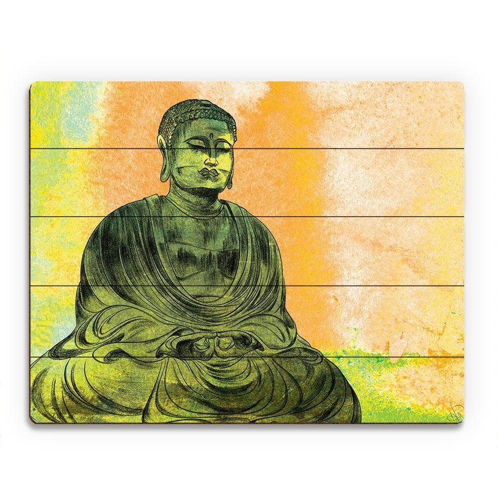 Red) Lotus Buddha Wall Art Print on Wood ( Lotus Buddha 09\