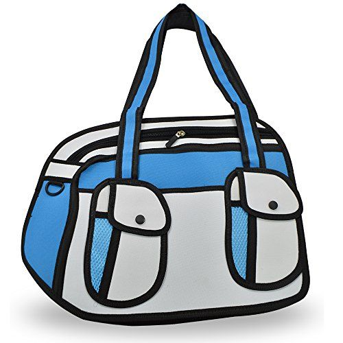TODEAL 3D Jump Style 2D Drawing From Cartoon Paper Bag Comic 3D Shoulder Bag for Women(Blue)