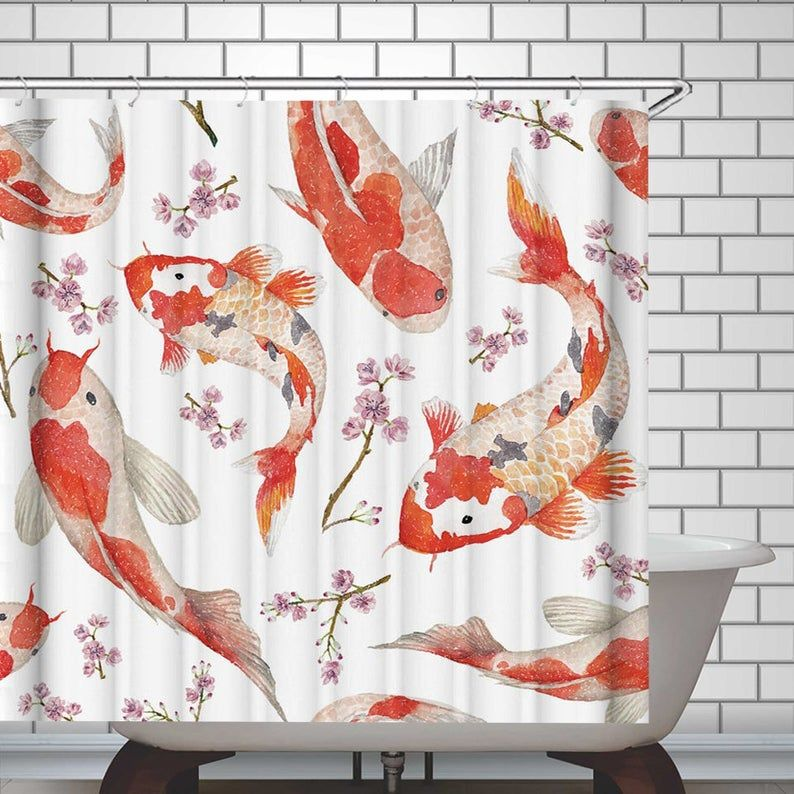 Koi Fish Shower Curtain Bathroom Curtain Polyester Fabric