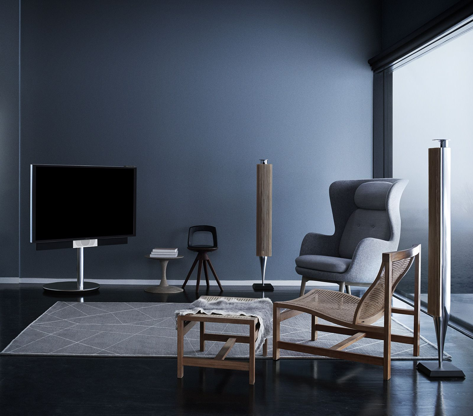 BeoVision Avant 4K UHD TV Moves Where You Want It Interiors