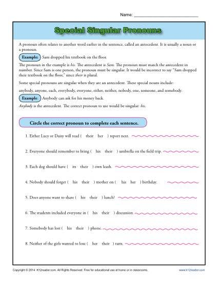 Special Singular Pronouns Worksheet Activity Some Pronouns That Sound Like They Are Plural Are Actually Treated As A Sin Pronoun Worksheets Worksheets Pronoun