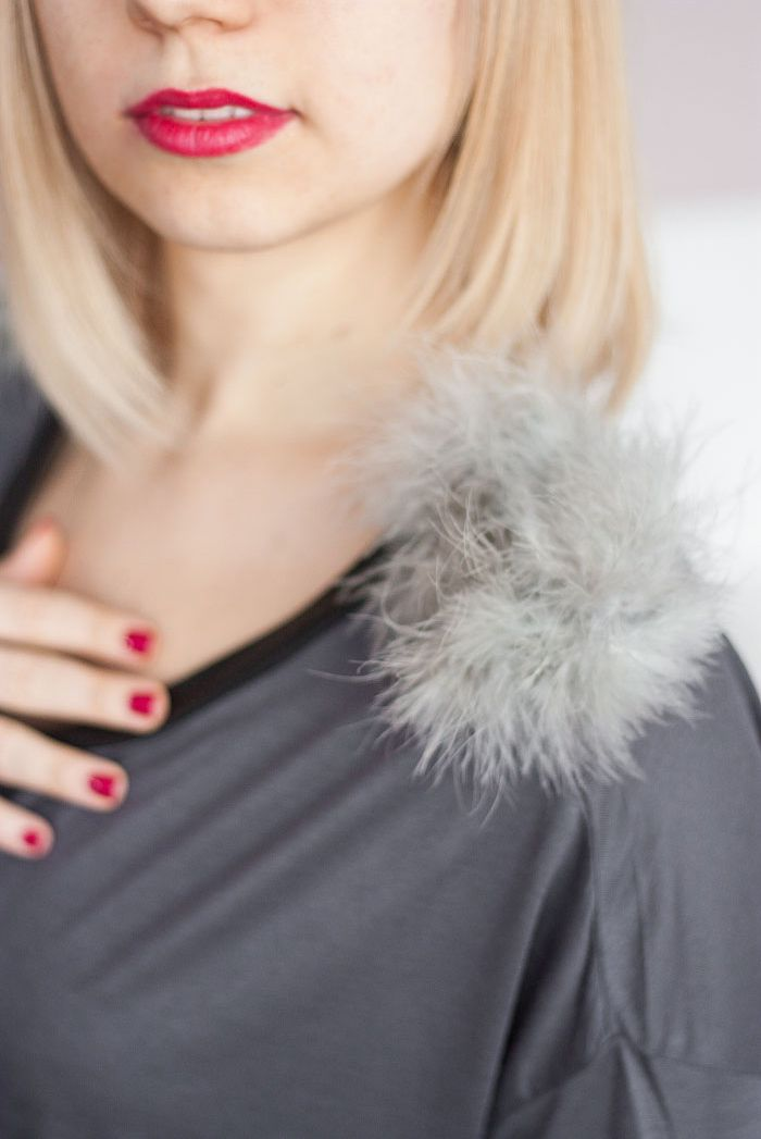 diy clothes fluffy shoulder long sleeve t-shirt via One O oneo oneodiy