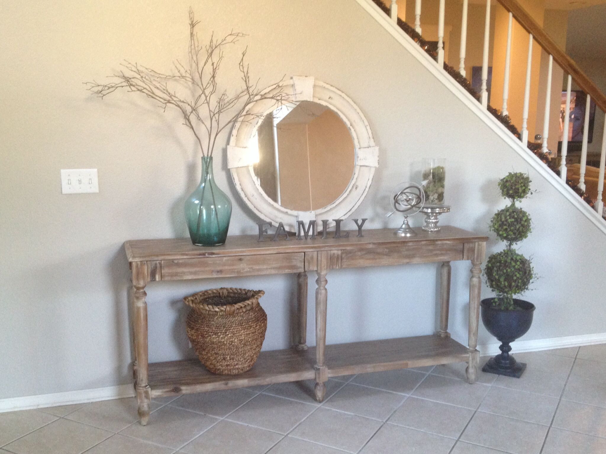 Everett Foyer Table, Amelie Basket And Armillary Sphere From WM (spray  Painted Brushed Nickel); Glass Vase From Target Filled With Faux Branches  From ...