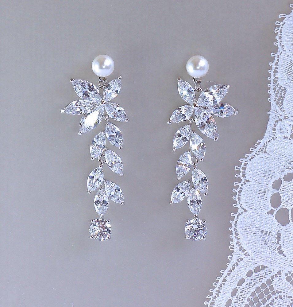 Crystal Bridal Earrings, Chandelier Earrings, Pearl Stud Crystal ...