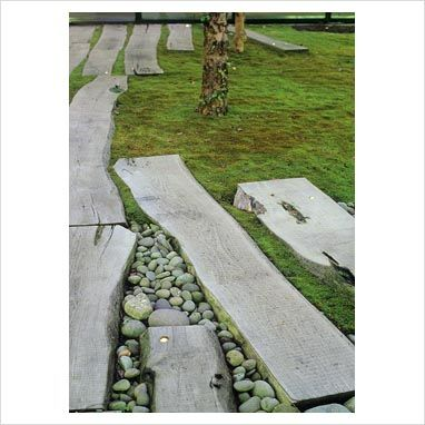 Zen style moss garden with paving slab path and pebbles at
