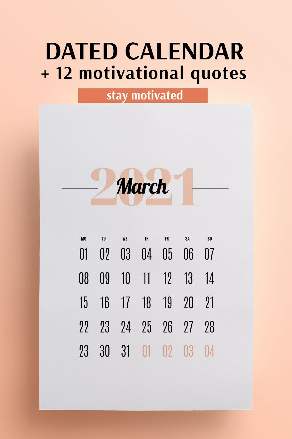 2021 Printable Calendar Positive Affirmations Quotes