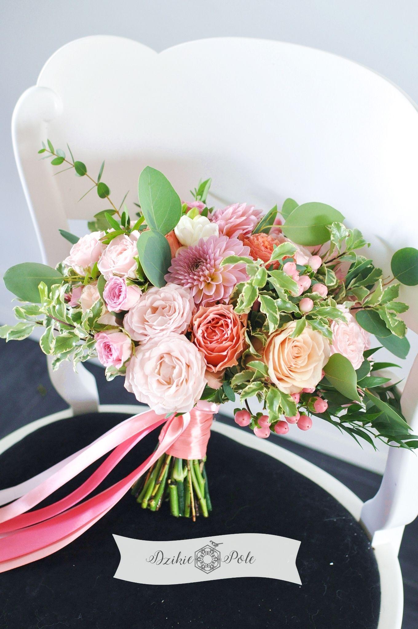 Bukiet Slubny Kolorowy Brzoskwiniowe Koralowe Kwiaty Boho Wedding Bouquet Coral Peach Flowers Table Decorations Decor Home Decor