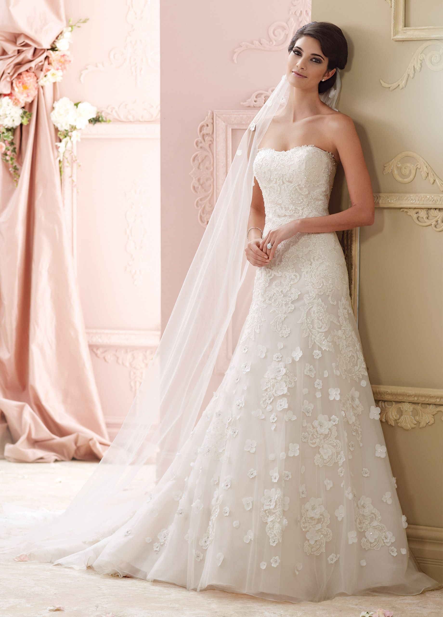 A line tulle wedding dress  Beaded Lace ALine Tulle u Organza Wedding Dress  Leia
