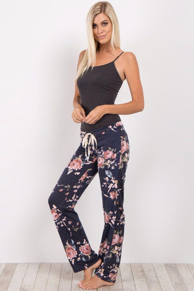 32b9d4f0ff Navy Rose Floral Pajama Pants