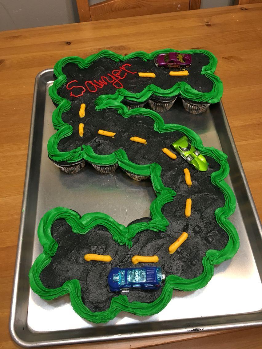 Hot Wheels Birthday Fifth Birthday Cupcake Cake Party