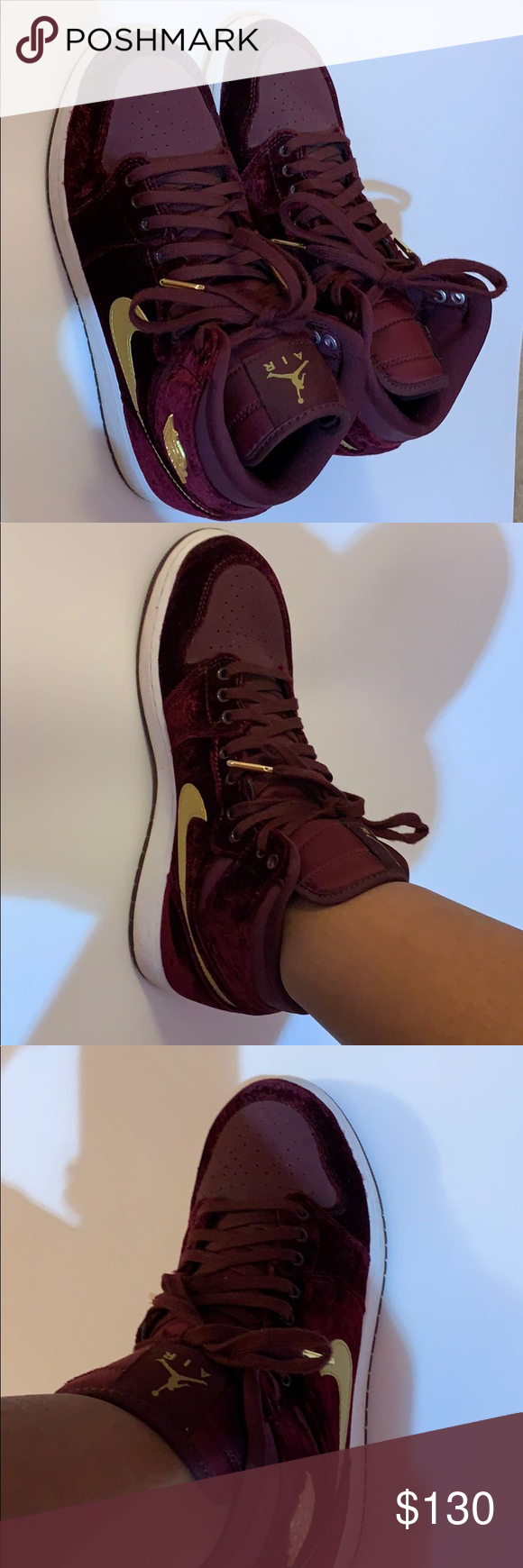 "Air Jordan 1 High Velvet ""Night Maroon"" These retro sneakers are perfect with almost any outfit to really make a fashion statement! They are a size 7 in kids so a size 8.5 in women's and were gently used so they're still in good condition. Also, they were brought back to the public in 2016 for a limited time, but now they've been brought back again so get yours before they're gone again. Jordan Shoes Sneakers #airjordan1outfitwomen Air Jordan 1 High Velvet ""Night Maroon"" These re #airjordan1outfitwomen"