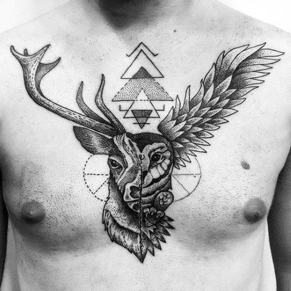 Geometric Insane Mens Deer Chest Tattoos Tattoos For Guys Geometric Tattoos Men Geometric Tattoo Deer