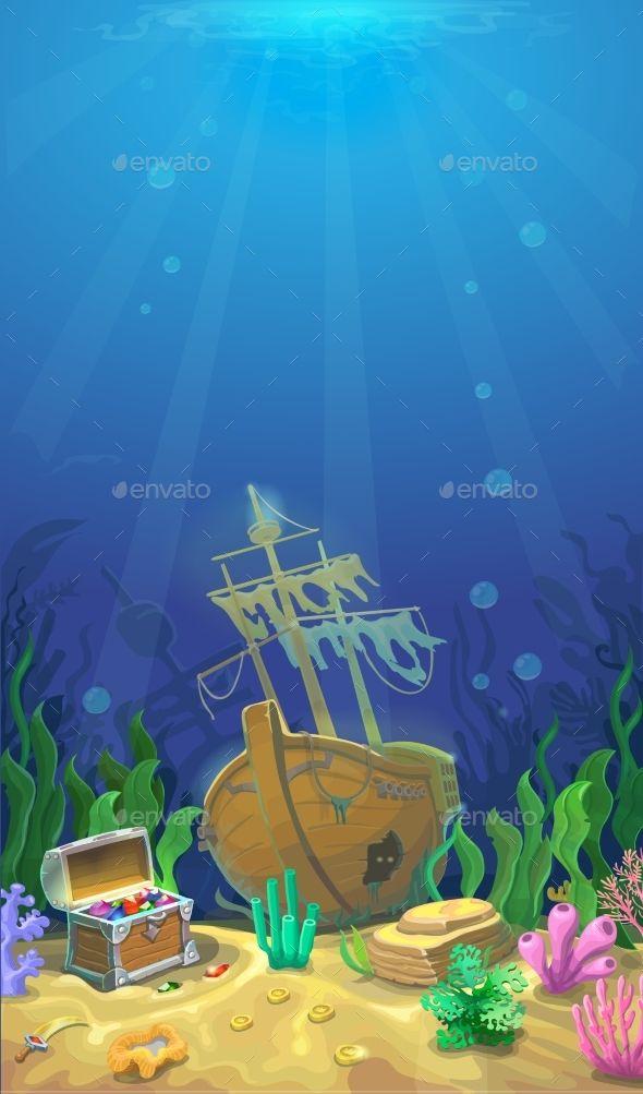 Underwater Landscape Underwater Cartoon Underwater Drawing Art Drawings For Kids