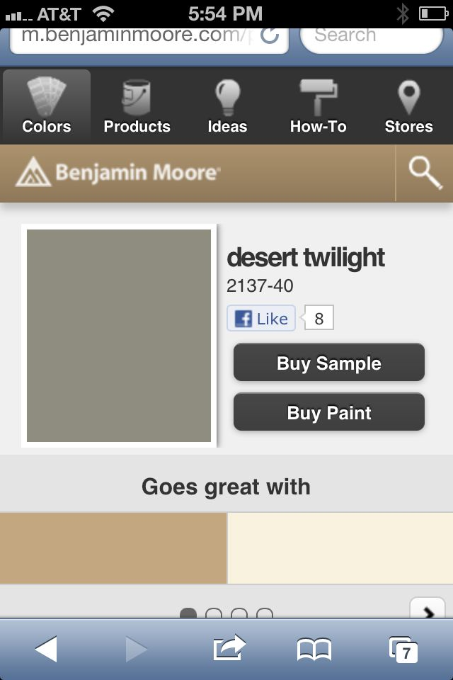 Desert twilight - Benjamin Moore- compliment color to Moonshine for ...