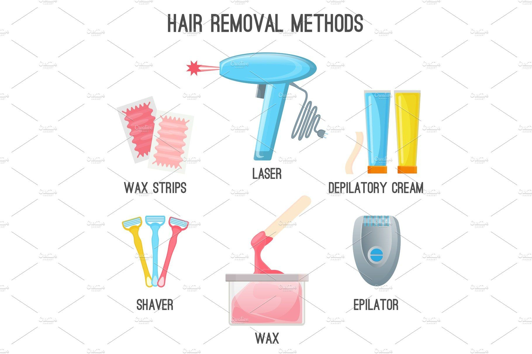 Hair Removal Methods Set Of Icons On Vector Illustration Hair