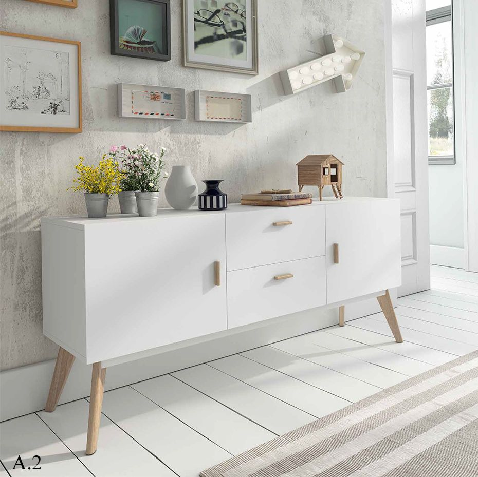 Aparador Vintage Color Blanco Satinado 2 Puertas 2 Cajones  # Rewind Muebles Vintage