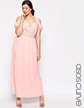 ASOS CURVE WEDDING Maxi Dress With Drape Cold Shoulder $40 @ ASOS