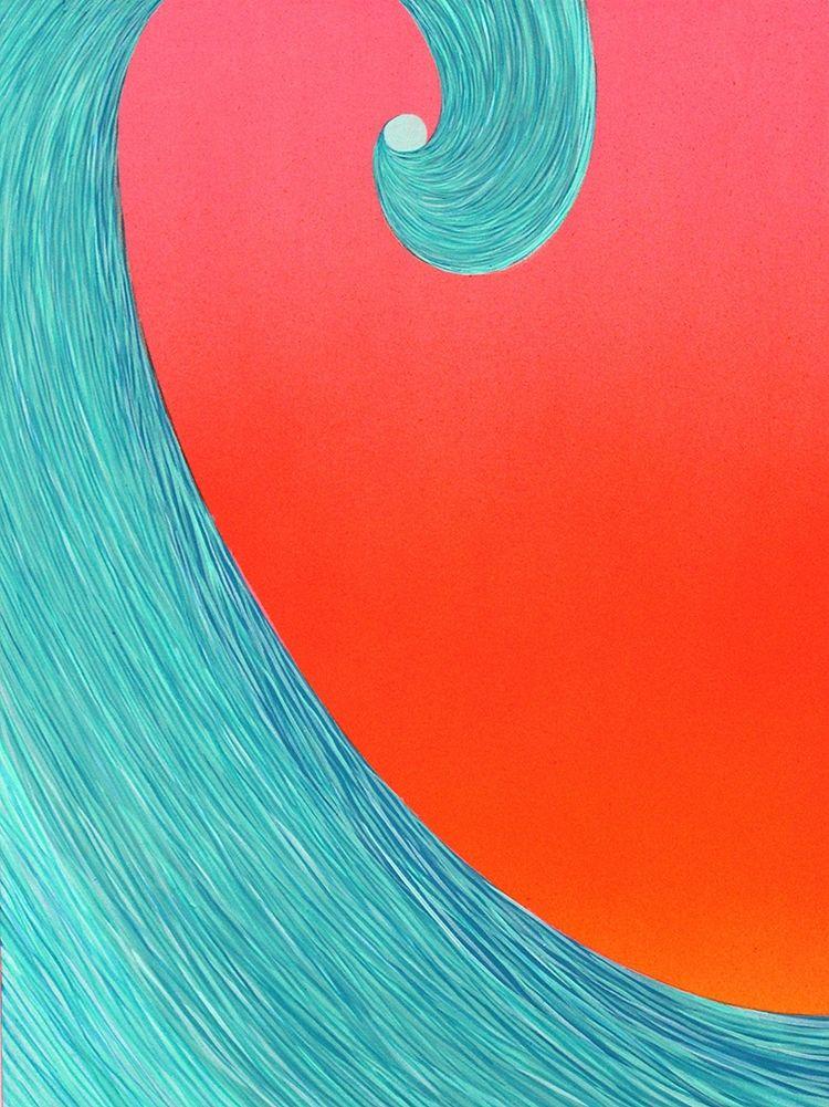 "Mark Warren Jacques ""Big Wave Morning"" Acrylic and Enamel on panel 9""x12"""