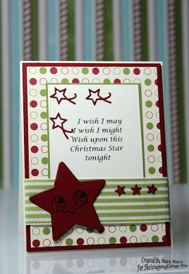 Mary's card using nested ornaments: star dies and Peachy Keen Face stamps