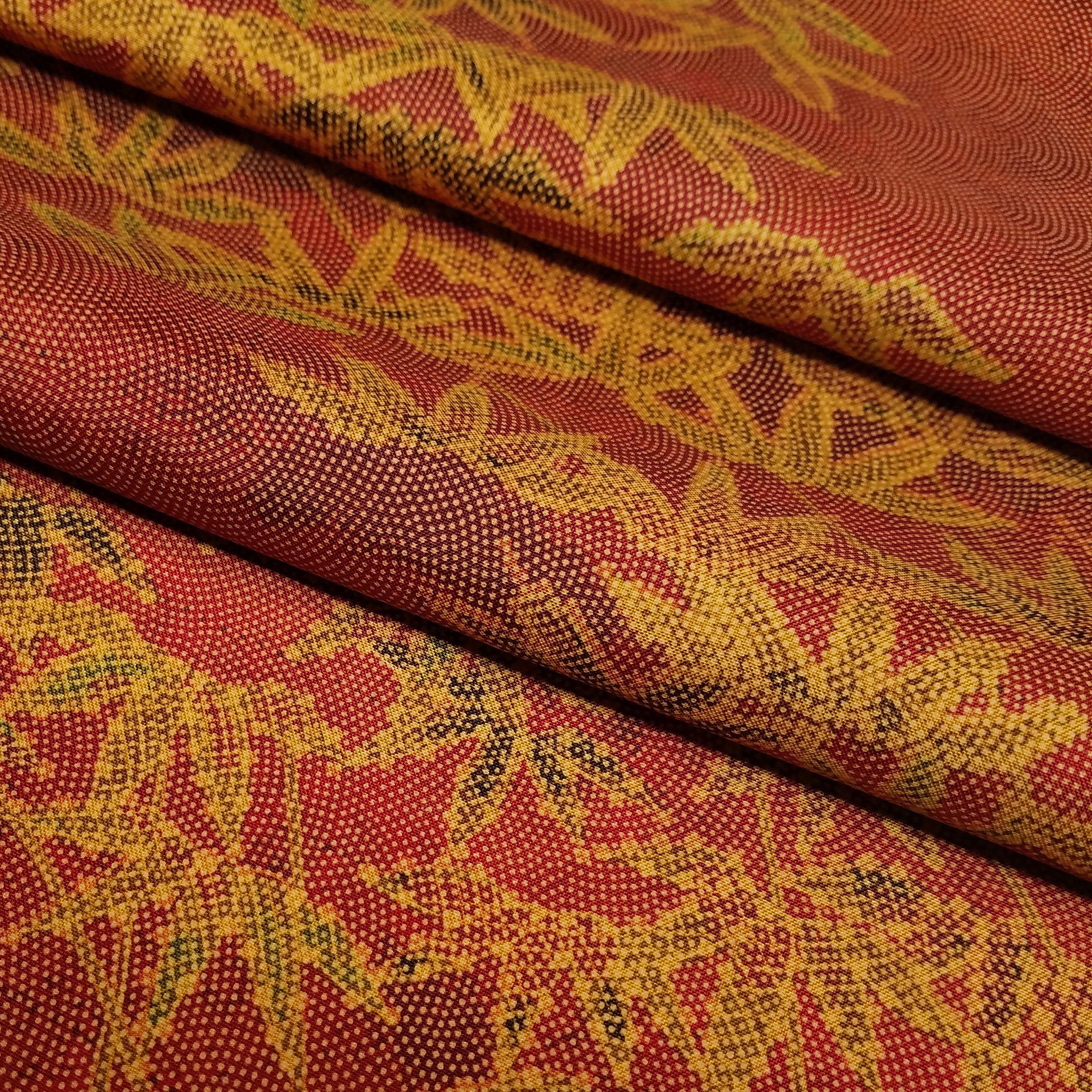 Tsumugi Pongee Silk Kimono Fabric With Golden Bamboo Design By The Yard Kimono Fabric Silk Kimono Fabric