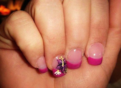 Acrylic fake nail designs with pink base and flower print accent acrylic fake nail designs with pink base and flower print accent prinsesfo Image collections