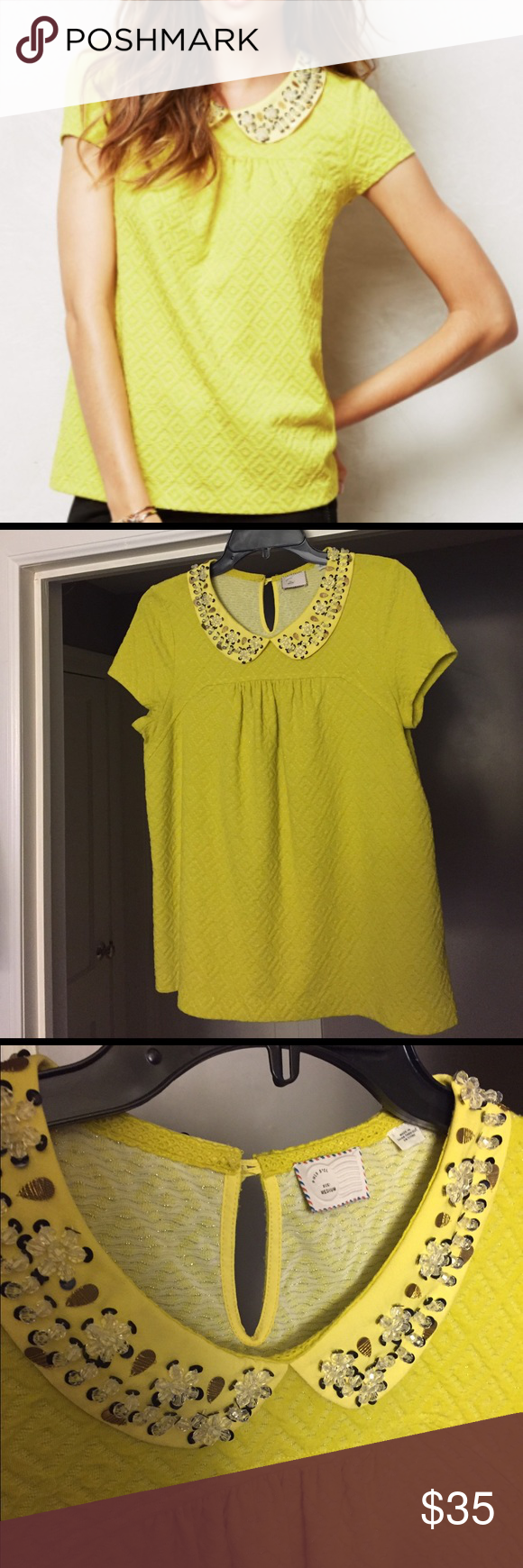 f3c578cbc620b0 Stunning Anthropologie Cassandra Jacquard Top M Beautiful Postmark brand peter  pan collar top from Anthropologie in a size M. Material is substantial and  ...