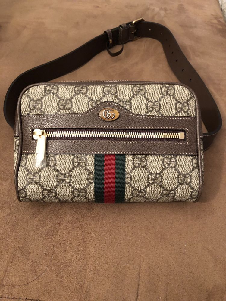 081b755c2 NEVER USED GUCCI BROWN CANVAS OPHIDIA GG SUPREME SMALL BELT BAG FANNY PACK