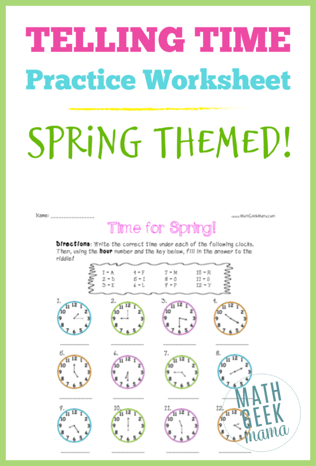 Time For Spring Free Telling Time Practice Worksheets