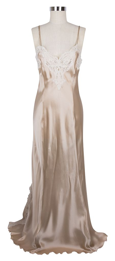 9d0a8db3f92e Feel like a hollywood siren every night in the Jane Woolrich Lace Nightgown  in Peach and Ivory!