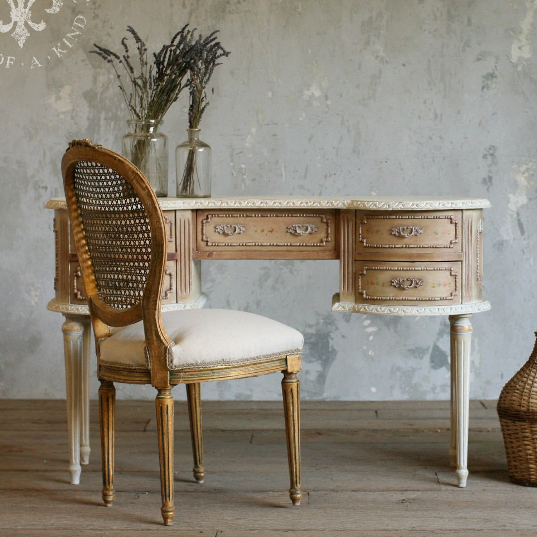 Vintage Vanity Desk In Brown 765.00 #thebellacottage #