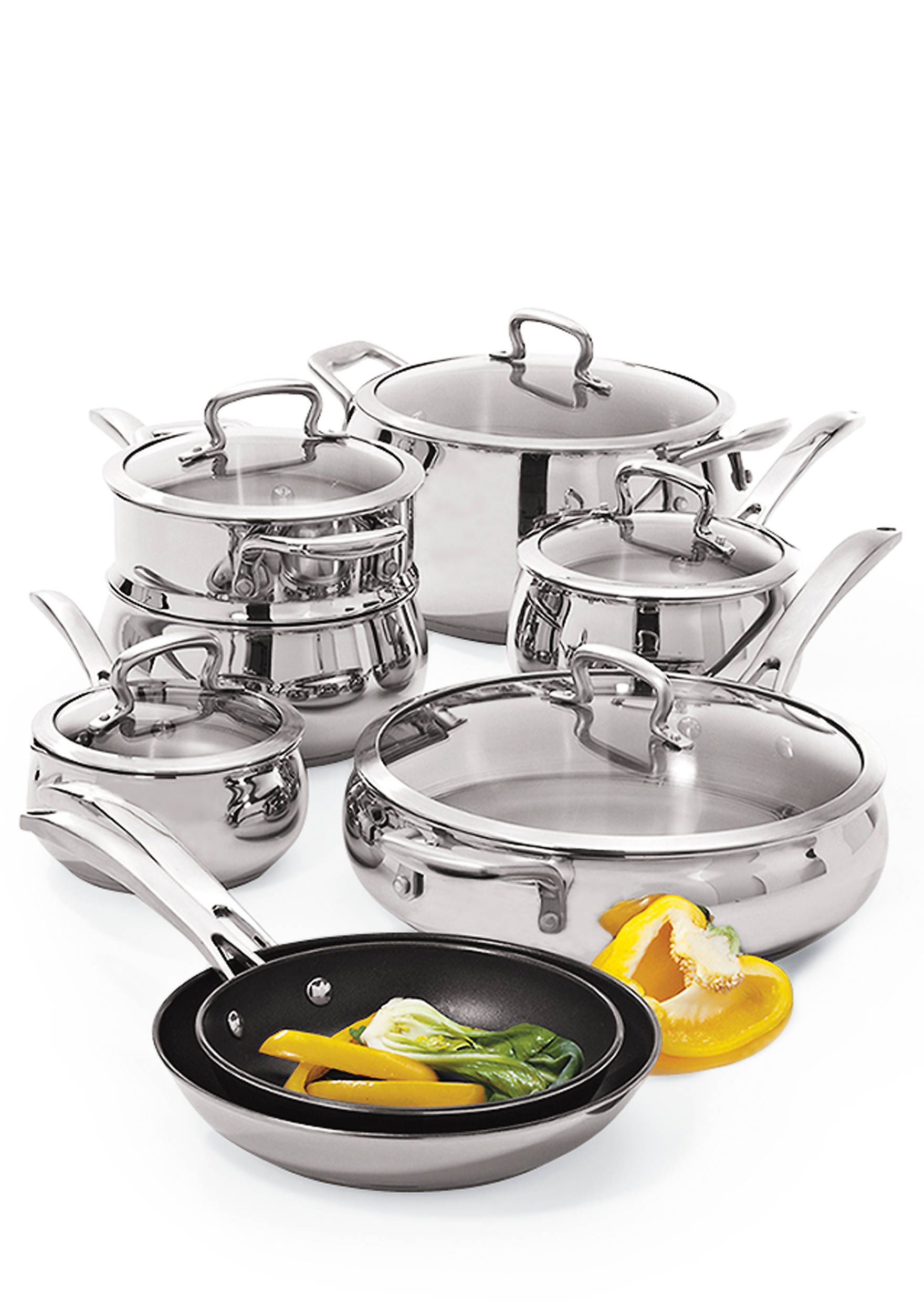 Biltmore Belly Shaped Stainless 13 Piece Cookware Set Cookware Set Country Kitchen Decor Stainless Steel Cookware