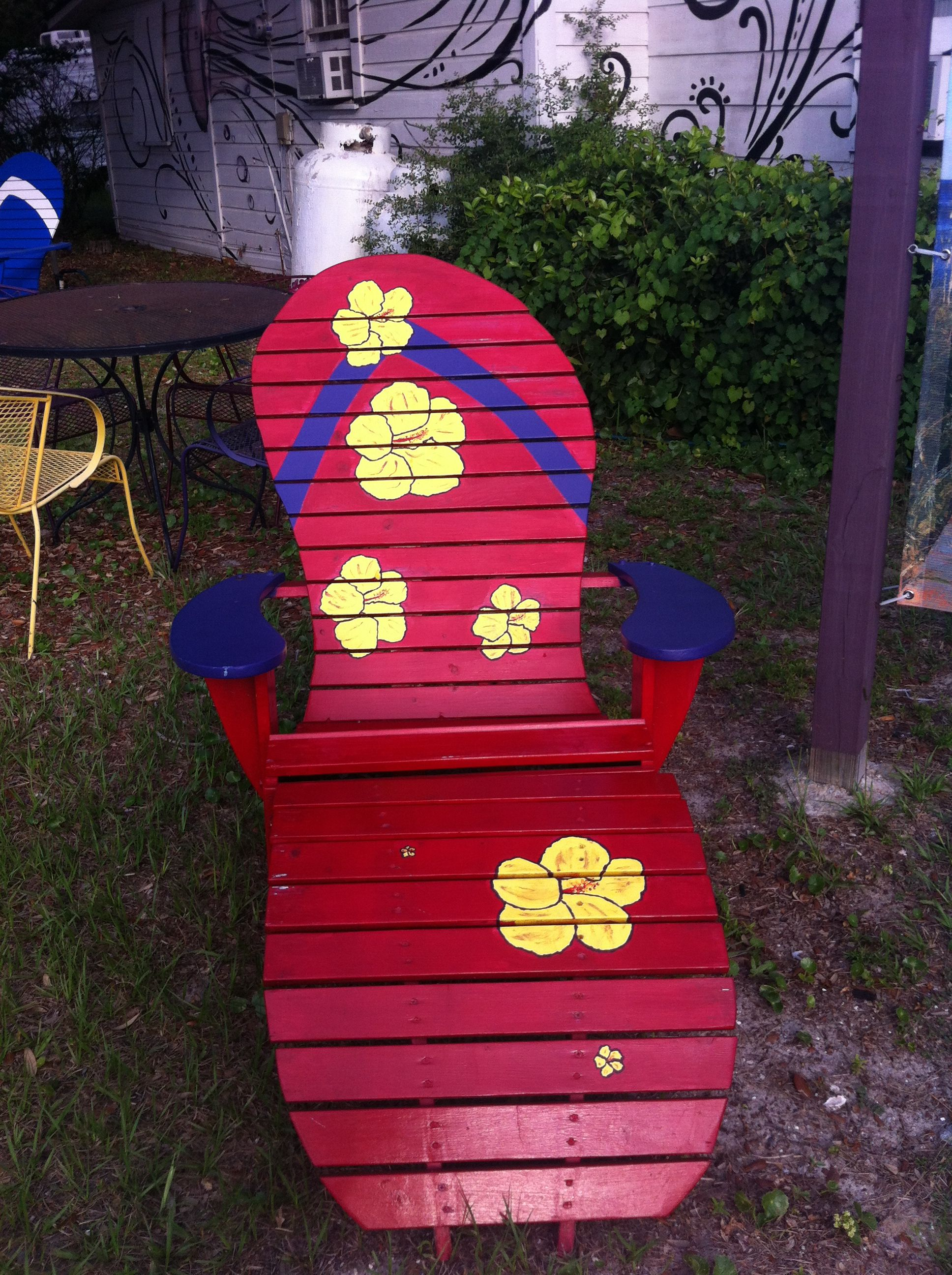 Cute Red Flip Flop Chair Yard Art Adirondack
