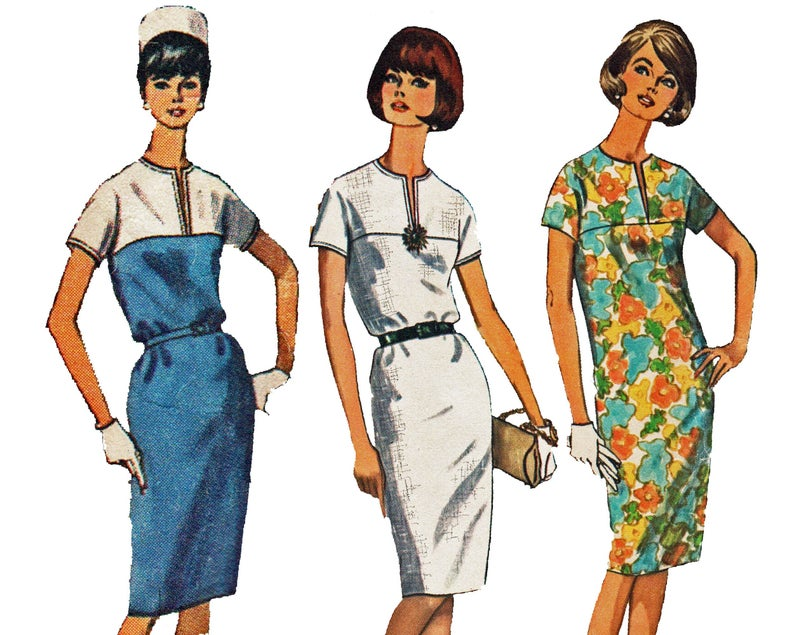 60s dress Sewing Pattern for 60s Dress with Slim Fit, Easy Jiffy Pattern, Simplicity 5875 #60sFashion #TheOldLeaf #EasySewingProjects #Dressmaking