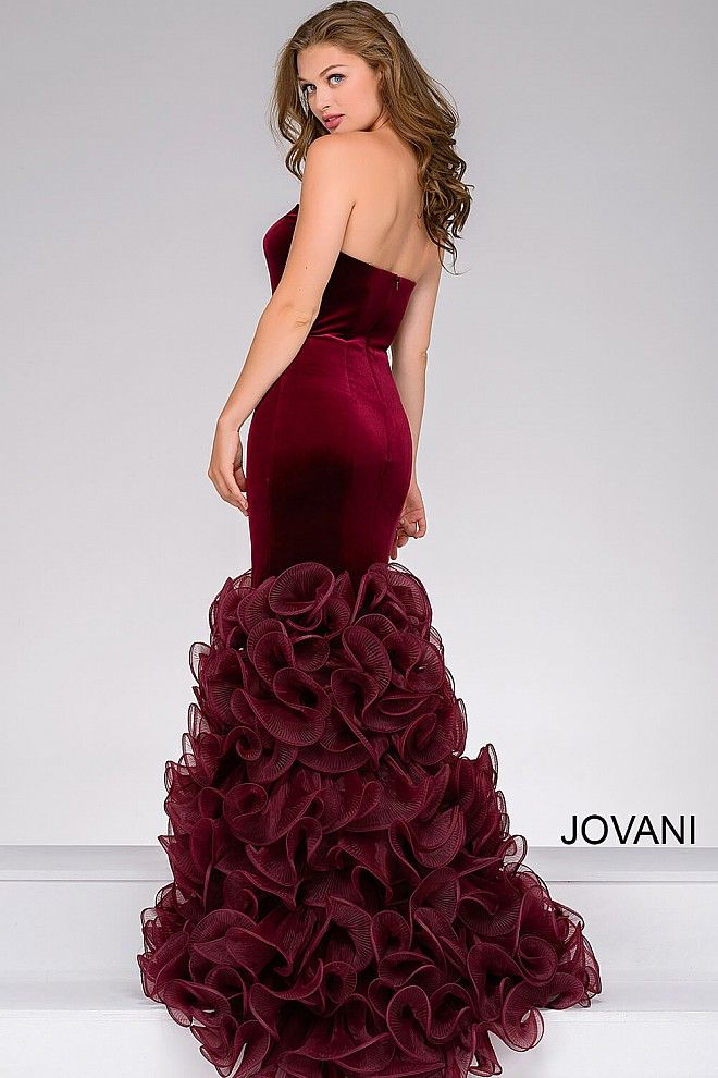 90b85158a256 Burgundy Velvet Mermaid Prom Dress 46609 in 2019 | Sparkle for the ...