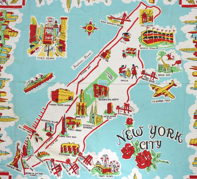 Map Of New York Landmarks.1950s Embroidered Cartoon Map Showing Nyc Landmarks Maps New