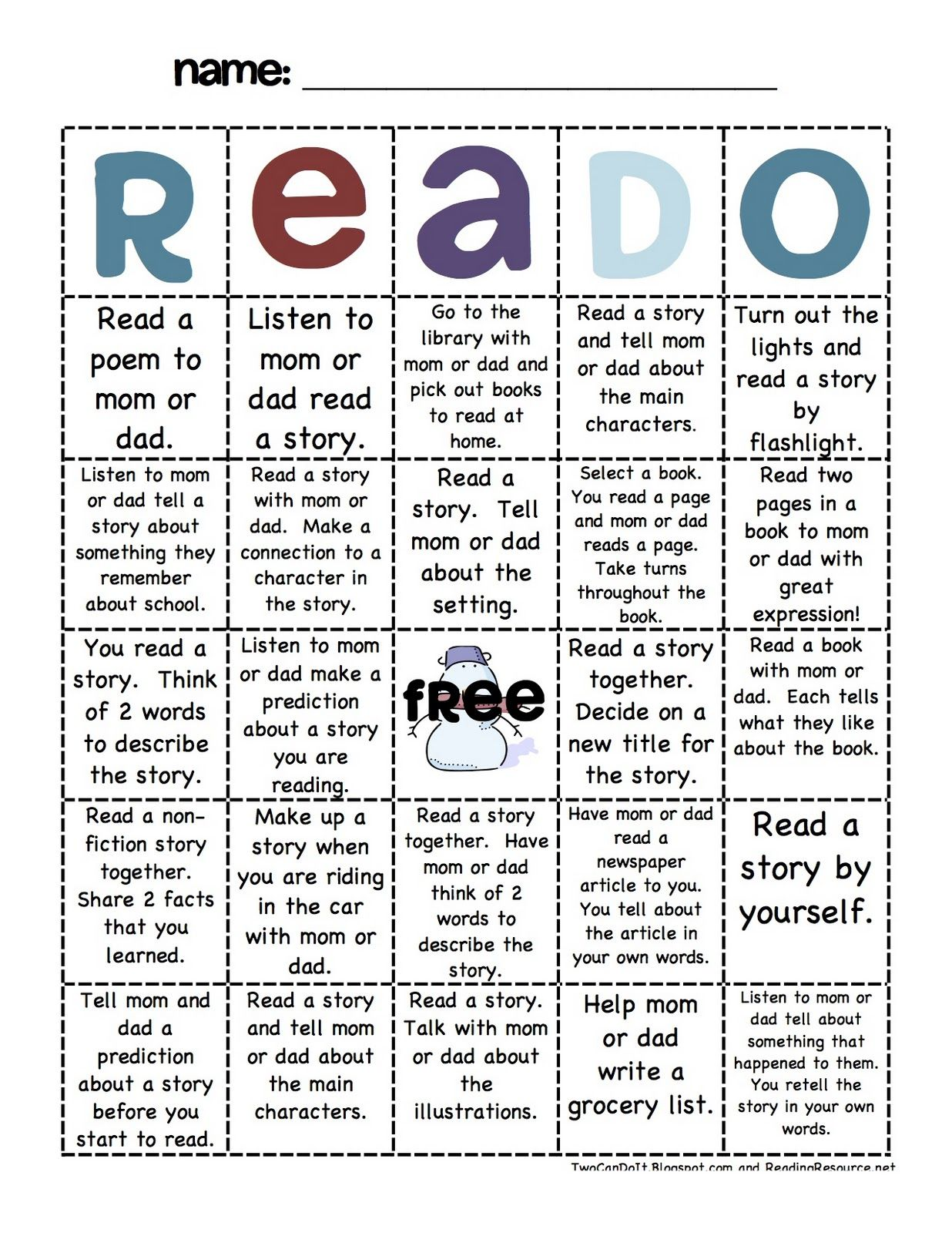 reading log, cute idea, have students do twice a year