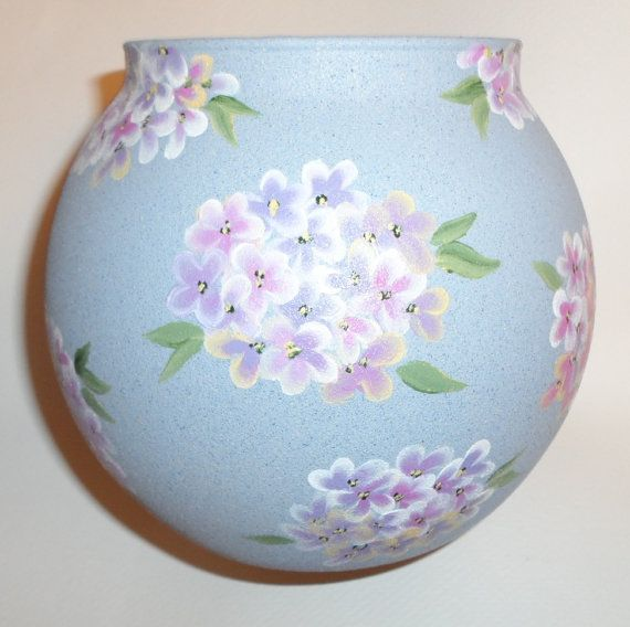 Painted Hydrangea Vase Hand Painted Glass by LisasPaintedCrafts